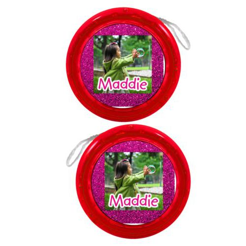 "Personalized yoyo personalized with pink glitter pattern and photo and the saying ""Maddie"""