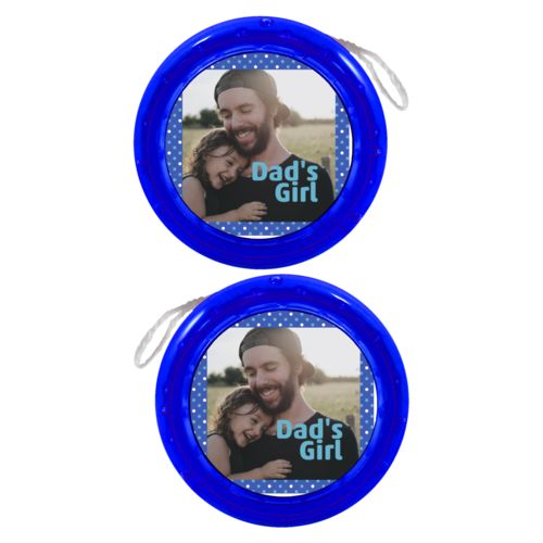 "Personalized yoyo personalized with small dots pattern and photo and the saying ""Dad's Girl"""