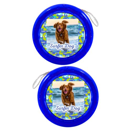 "Personalized yoyo personalized with sup pattern and photo and the saying ""Surfer Dog"""