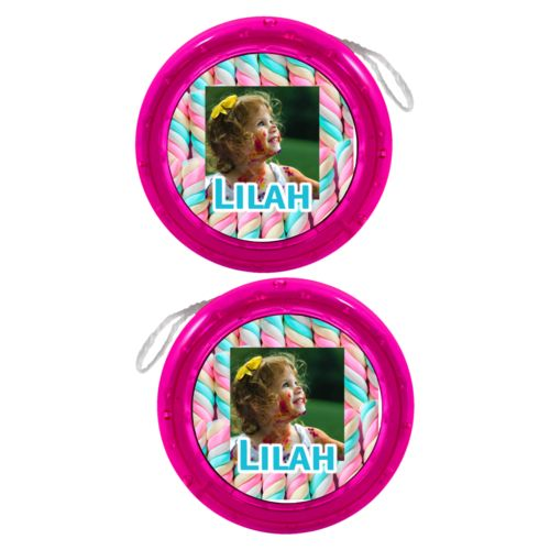 "Personalized yoyo personalized with sweets twist pattern and photo and the saying ""Lilah"""