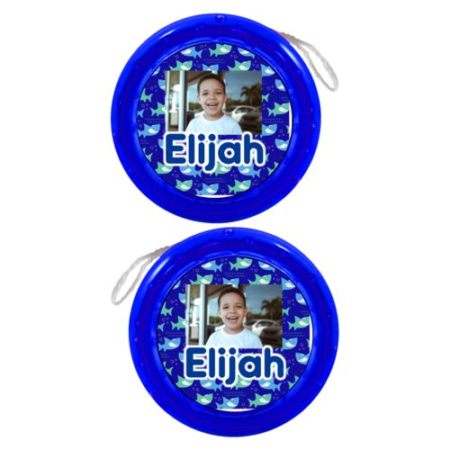 "Personalized yoyo personalized with sharks pattern and photo and the saying ""Elijah"""