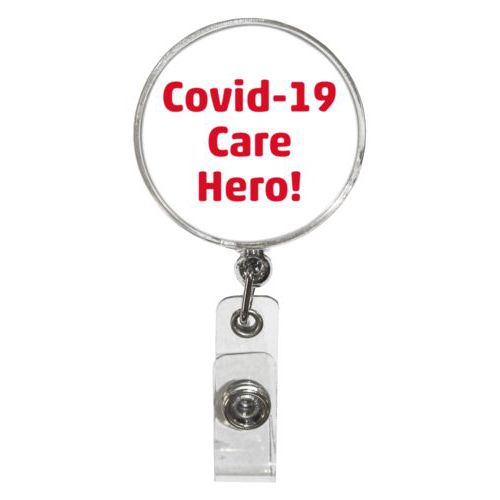 "Personalized badge reel personalized with the saying ""Covid-19 Care Hero!"""