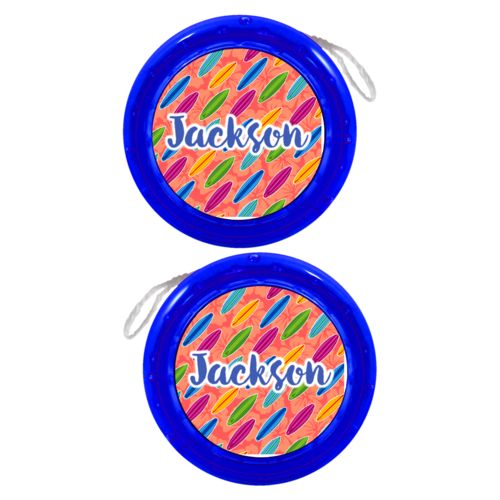 "Personalized yoyo personalized with boards pattern and the saying ""Jackson"""