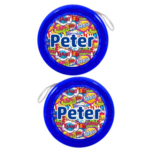 "Personalized yoyo personalized with comics pattern and the saying ""Peter"""