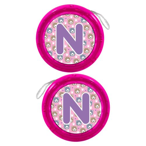 "Personalized yoyo personalized with bears pattern and the saying ""N"""