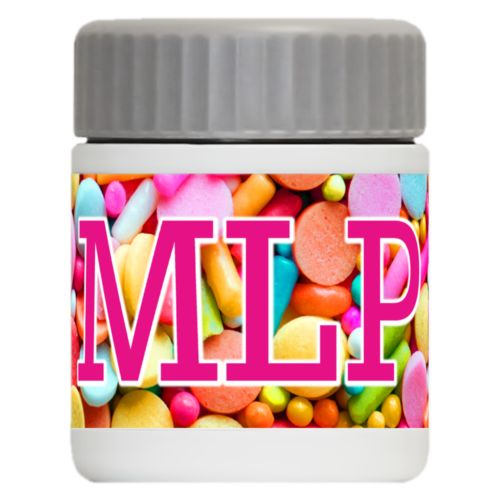 "Personalized 12oz food jar personalized with sweets sweet pattern and the saying ""MLP"""