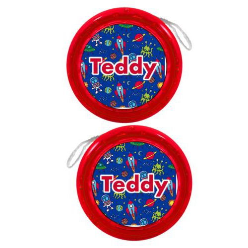"Personalized yoyo personalized with space pattern and the saying ""Teddy"""