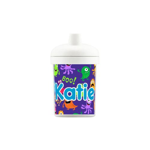 "Personalized toddlercup personalized with monsters pattern and the saying ""Katie"""