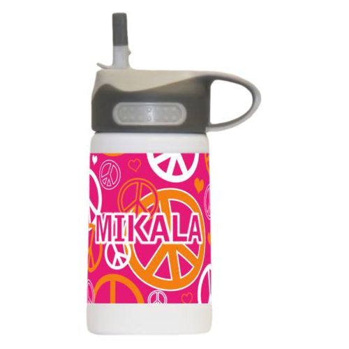 "Water bottle for kindergarten personalized with peace out pattern and the saying ""MIKALA"""