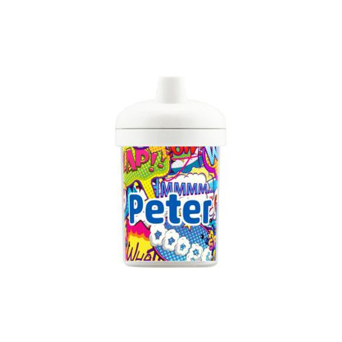 "Personalized toddlercup personalized with comics pattern and the saying ""Peter"""