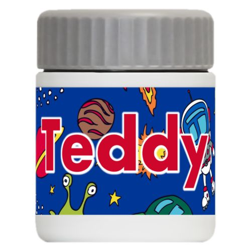 "Personalized 12oz food jar personalized with space pattern and the saying ""Teddy"""