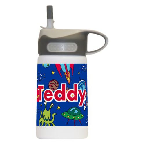 "Kids spill proof water bottle personalized with space pattern and the saying ""Teddy"""