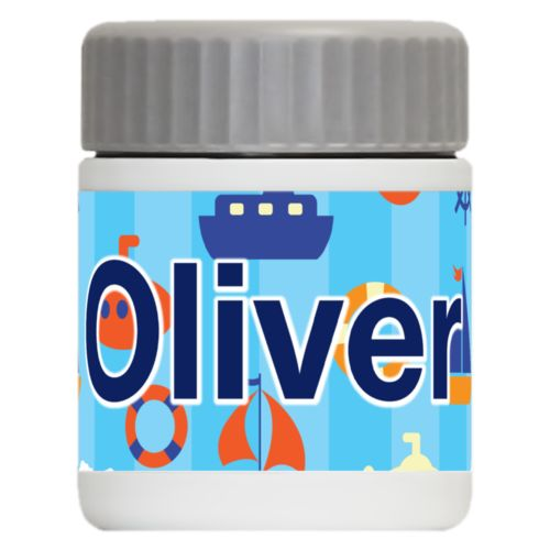 "Personalized 12oz food jar personalized with submarine pattern and the saying ""Oliver"""
