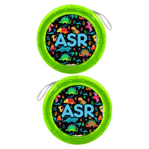 "Personalized yoyo personalized with dinos pattern and the saying ""ASR"""