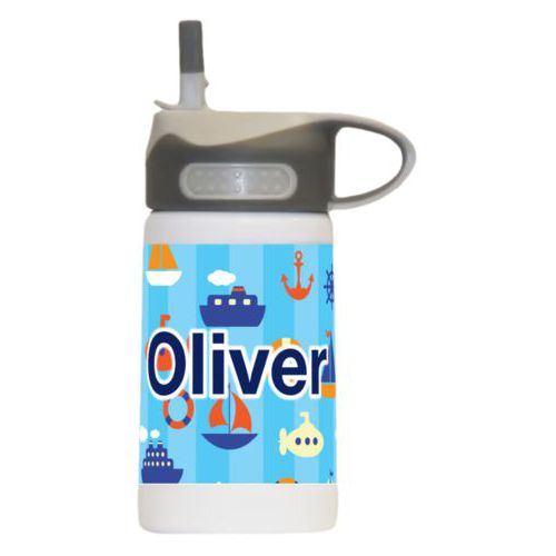"Steel water bottle for kids personalized with submarine pattern and the saying ""Oliver"""