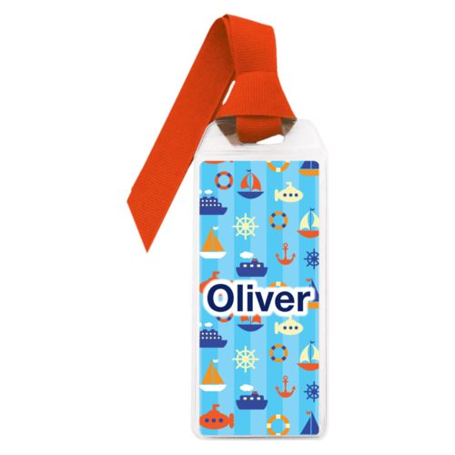 "Personalized book mark personalized with submarine pattern and the saying ""Oliver"""