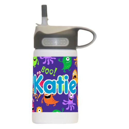 "Kids water bottle personalized with monsters pattern and the saying ""Katie"""