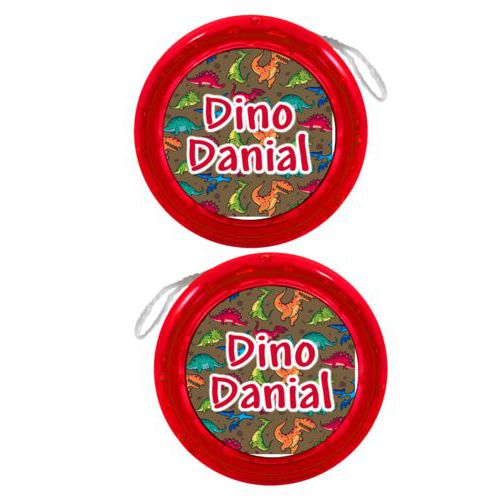 "Personalized yoyo personalized with dinosaurs pattern and the saying ""Dino Danial"""