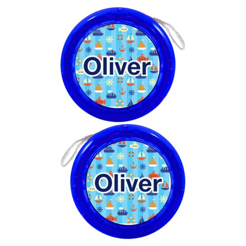 "Personalized yoyo personalized with submarine pattern and the saying ""Oliver"""