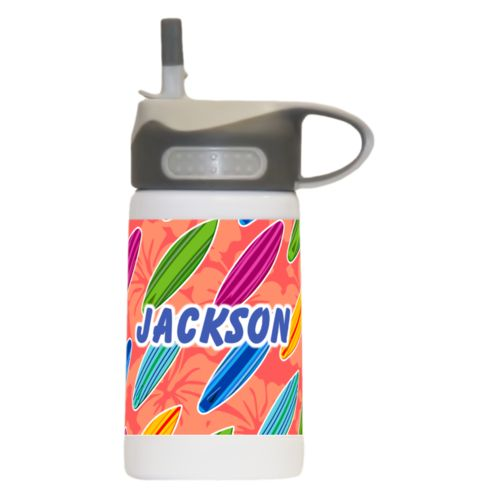 "Water bottle for kids personalized with boards pattern and the saying ""Jackson"""
