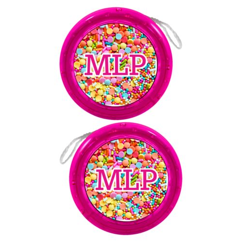 "Personalized yoyo personalized with sweets sweet pattern and the saying ""MLP"""