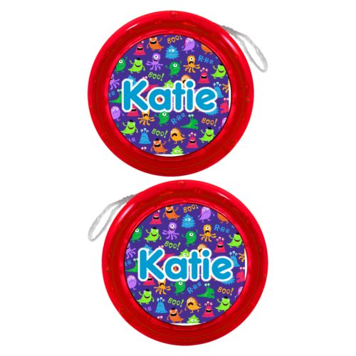 "Personalized yoyo personalized with monsters pattern and the saying ""Katie"""