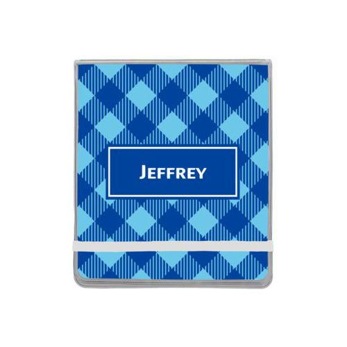 Personalized manicure set personalized with check pattern and name in ultramarine