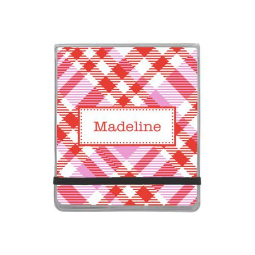Personalized manicure set personalized with tartan pattern and name in red punch and thistle
