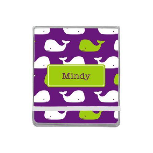 Personalized manicure set personalized with whales pattern and name in orchid and juicy green