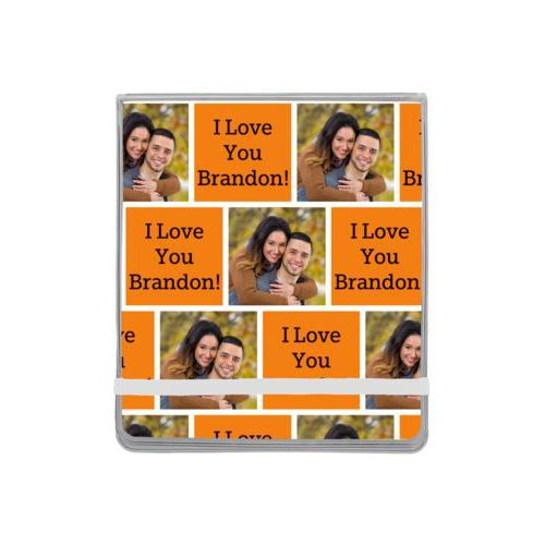 "Personalized manicure set personalized with a photo and the saying ""I Love You Brandon!"" in black and juicy orange"