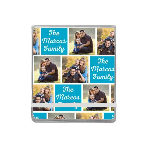 "Personalized manicure set personalized with photos and the saying ""The Marcos Family"" in juicy blue and white"