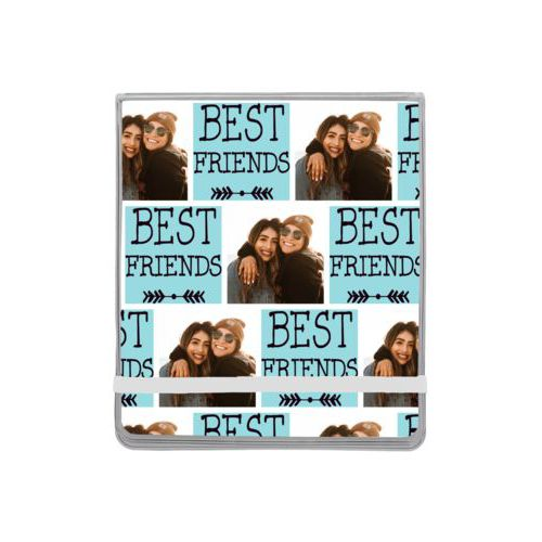 "Personalized manicure set personalized with a photo and the saying ""Best Friends"" in black and robin's shell"
