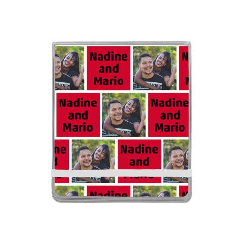 "Personalized manicure set personalized with a photo and the saying ""Nadine and Mario"" in black and apple red"