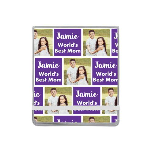 "Personalized manicure set personalized with a photo and the saying ""Jamie World's Best Mom"" in purple and white"