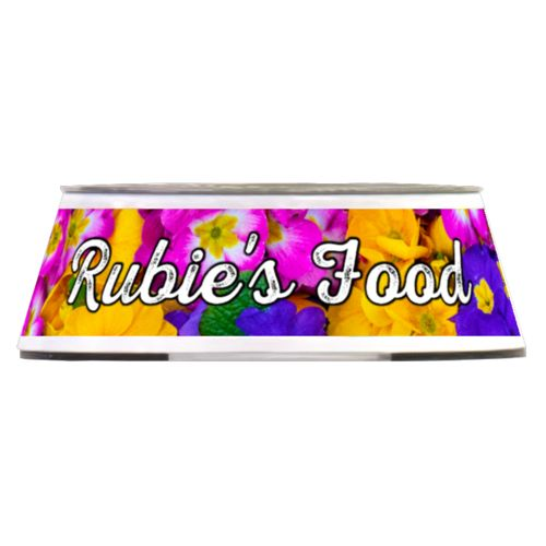 "Personalized pet bowl personalized with geranium pattern and the saying ""Rubie's Food"""