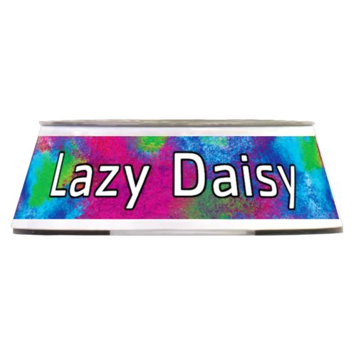 "Personalized pet bowl personalized with night pattern and the saying ""Lazy Daisy"""
