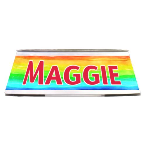"Personalized pet bowl personalized with rainbow bright pattern and the saying ""Maggie"""