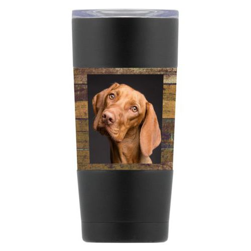 Personalized insulated steel mug personalized with brown rustic pattern and photo
