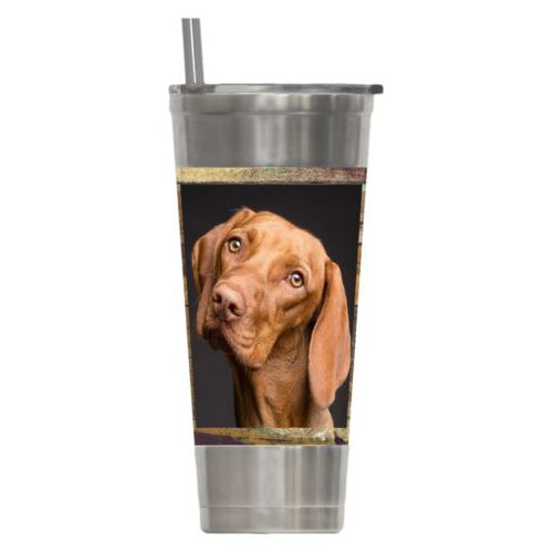 Personalized insulated steel tumbler personalized with brown rustic pattern and photo