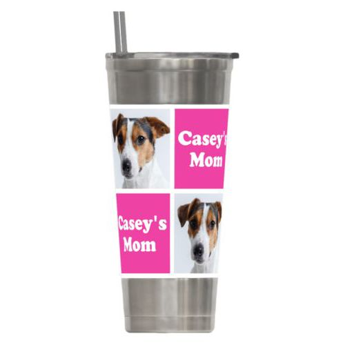 "Personalized insulated steel tumbler personalized with a photo and the saying ""Casey's Mom"" in juicy pink and white"