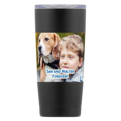 "Personalized insulated steel mug personalized with photo and the saying ""Sam and Walter Forever!"""