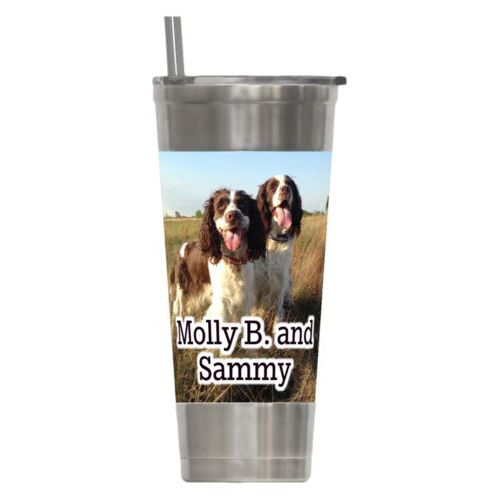 "Personalized insulated steel tumbler personalized with photo and the saying ""Molly B. and Sammy"""