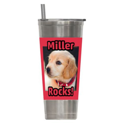 "Personalized insulated steel tumbler personalized with photo and the sayings ""Miller"" and ""Rocks!"""