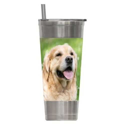24oz insulated steel tumbler personalized with dog photo