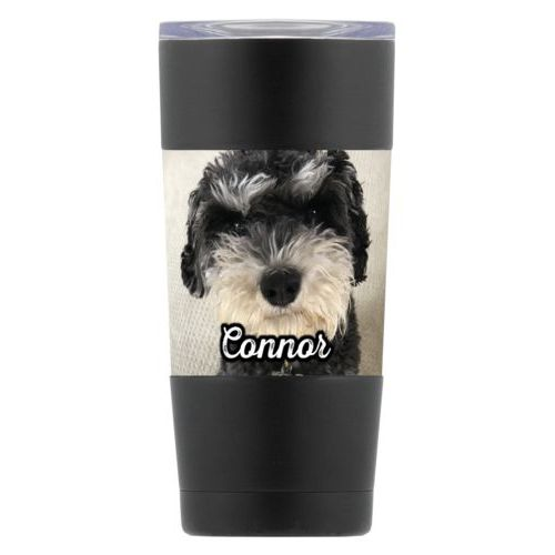 "Personalized insulated steel mug personalized with photo and the saying ""Connor"""