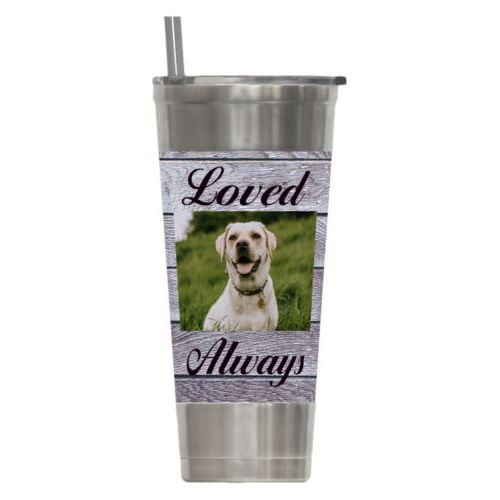 "Personalized insulated steel tumbler personalized with grey wood pattern and photo and the sayings ""Loved"" and ""Always"""