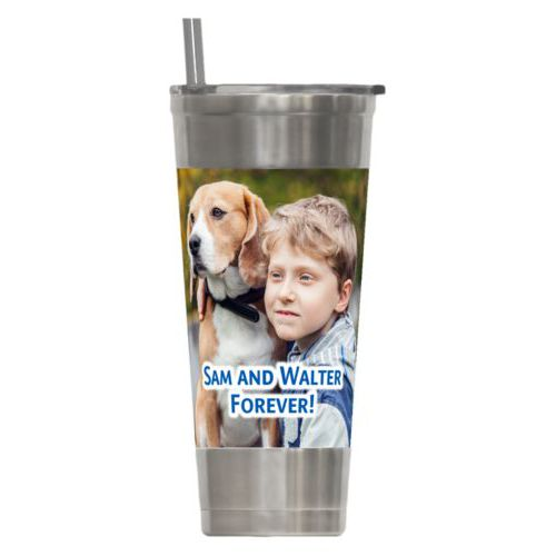 "Personalized insulated steel tumbler personalized with photo and the saying ""Sam and Walter Forever!"""