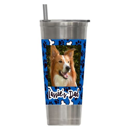 "Personalized insulated steel tumbler personalized with evidence pattern and photo and the saying ""Lassie's Dad"""