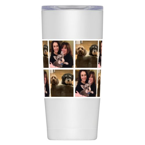 20oz insulated steel mug personalized with dog photos