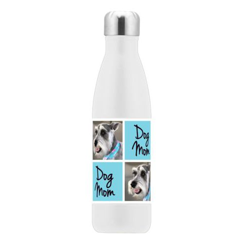 "Personalized stainless steel water bottle personalized with a photo and the saying ""dog mom"" in black and sweet teal"